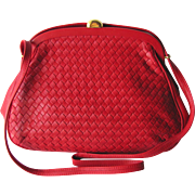 Vintage Red Woven Leather Shoulder Handbag with Adjustable Strap