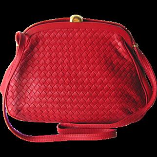 Vintage Red Woven Leather Shoulder Handbag with Adjustable Strap