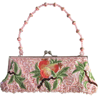 Vintage Pink Clutch with Sequins and Embroidered Fruit with Two Convertible Handles