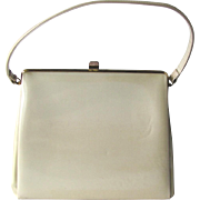 Vintage 1950's Kelly Handbag in Cream Colored Patent Vinyl by Theodor of California