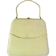 Vintage 1950's Handbag in Daffodil Colored Raffia by MM Morris Moskowitz