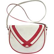 1960's Vintage Cross-body Handbag in White with Red Accents – Faux Leather – Mondrian Influence