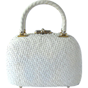 Vintage 1950's White Lacquered Wicker Box Handbag with Rounded Shape by Koret