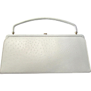 Vintage 1960s Convertible Clutch in White Textured Faux Leather by After Five
