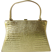 Vintage 1960's Handbag in Gold-Tone Embossed Faux Crocodile Leather