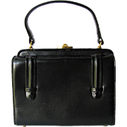 Vintage 1950's Black Handbag by Block with Boxy Shape in Faux Leather