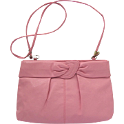 Vintage Pink Clutch in Faux Leather with Cross-Body Convertible Strap
