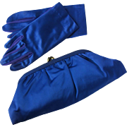 Vintage Cobalt Blue Evening Bag in Satin with Matching Cobalt Blue Gloves