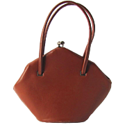 Vintage 1940's Leather Handbag in Caramel Color and Heptagon Shape by Marlow
