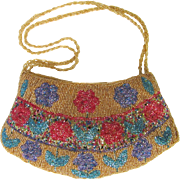 Vintage Beaded Evening Bag with Colorful Beaded Flowers in Shades of Gold – Blue – Rose