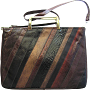Vintage 1960's Varon Snakeskin Leather Handbag in Briefcase Style with Convertible Strap