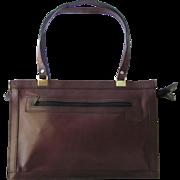 Vintage Leather Satchel in Mahogany Color with Shoulder Straps