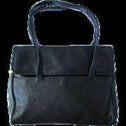 Vintage Black Leather I.Magnin Satchel with Multiple Pockets – Large