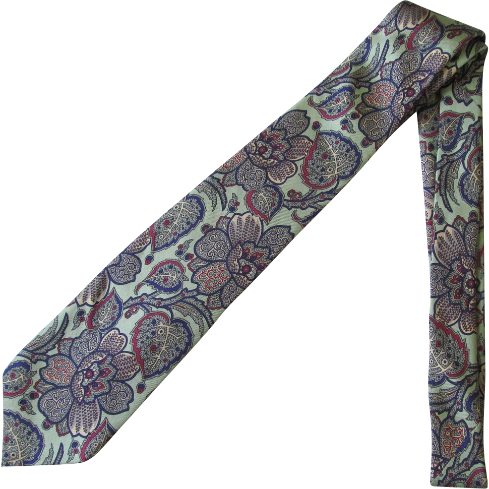 Vintage Robert Talbott Nordstrom Silk Necktie with Stylized Design in Sea Green and Blue