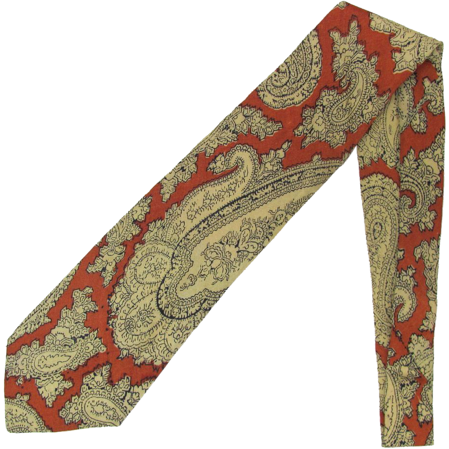 1950's Vintage Silk Paisley Necktie in Cinnamon and Wheat