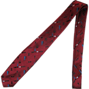 Vintage Narrow Jacquard Necktie in Burgundy with Stylized Brush Stroke Design