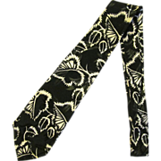 Vintage Jacquard Necktie in Black with Leaf Design in White