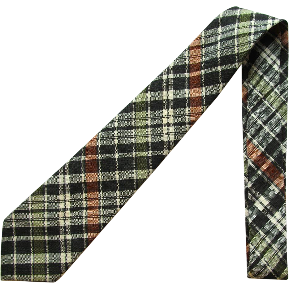 Vintage Plaid Necktie in Shades of Green with Russet Accents