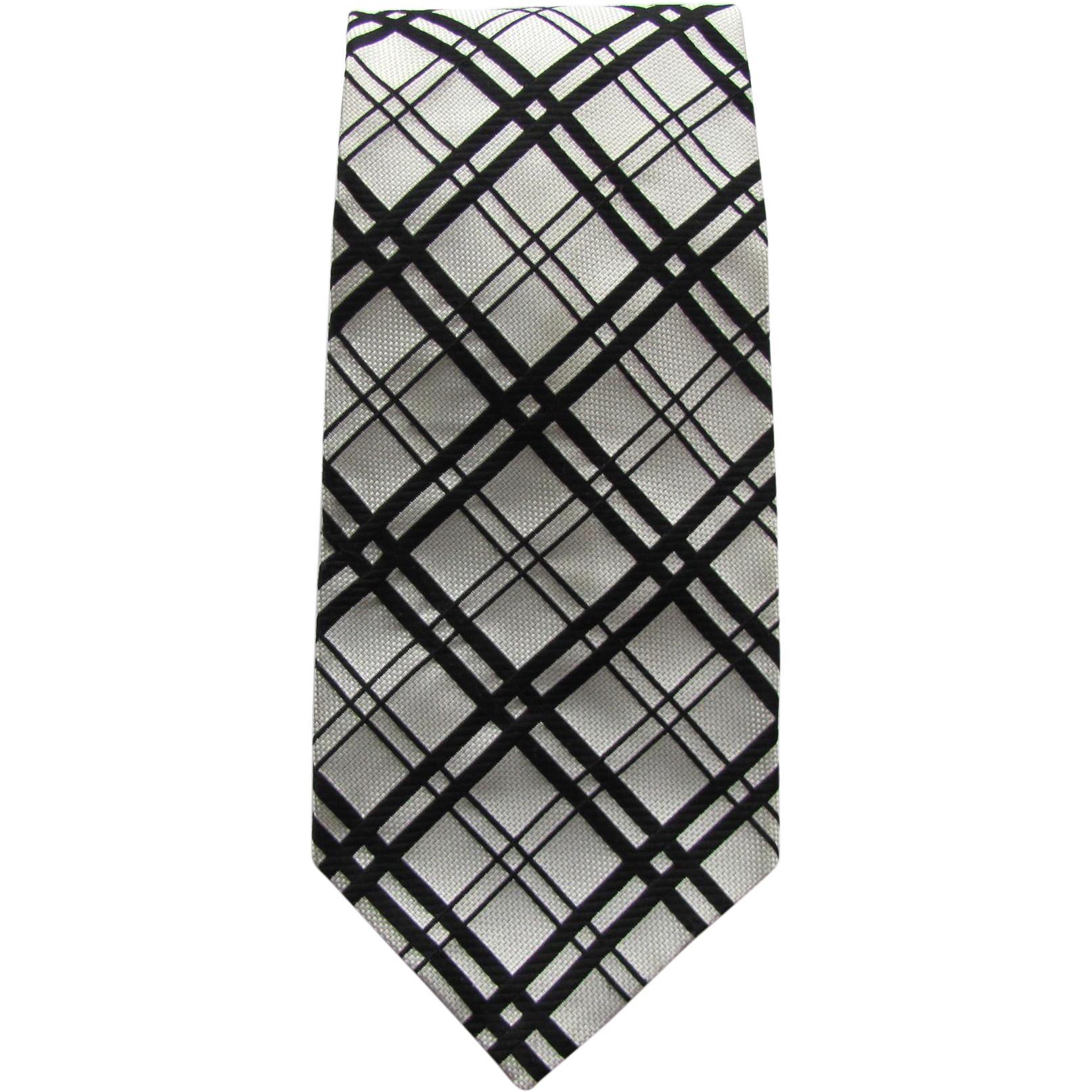 Vintage 1950's Plaid Necktie in Light Grey and Black – Wide and Bold