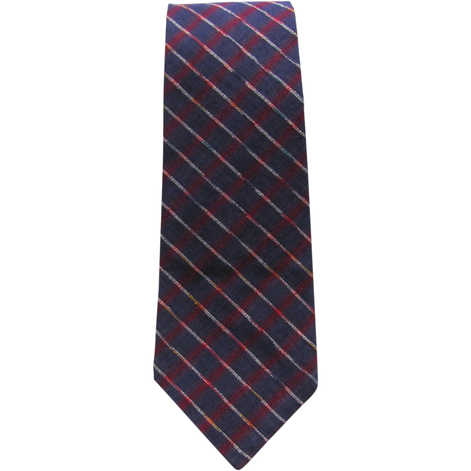 Vintage Necktie in Blue and Red Plaid with White Accents