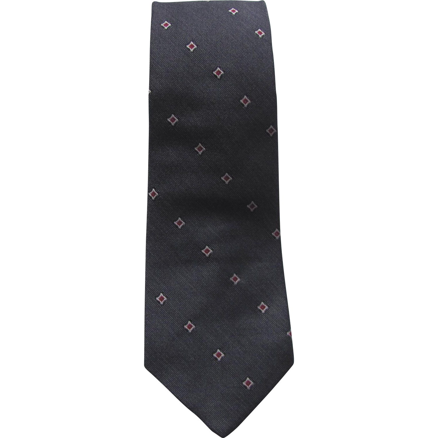 Vintage 1960s Narrow Jacquard Necktie in Blue-Grey with Red and White Diamond Pattern