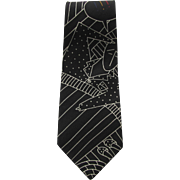 Vintage Beatles Necktie – I Call Your Name – in Black and White with Color Accents