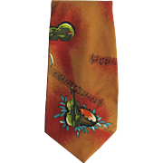 Vintage Necktie with Classical Music Theme and Island Motif in Burnt Umber and Green