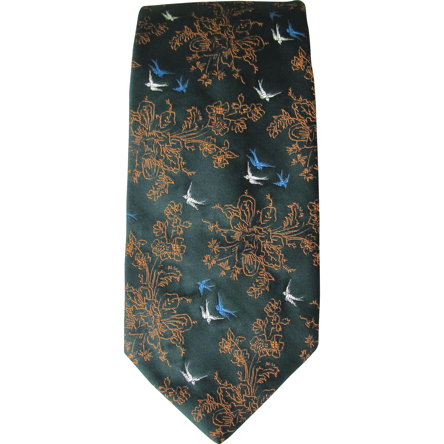 vintage wembley tie in green with stitched floral and
