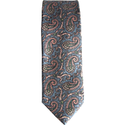 Vintage Silk Tie by Ferrell Reed for Nordstrom in Blue-Grey with Paisley Design
