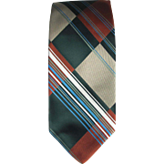 Vintage Plaid Wide Tie in Green and Mahogany with Khaki and Blue Striped Accents