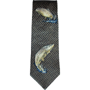 Vintage 1980's Silk Necktie with Brown Trout Design by Field Wear Made in USA