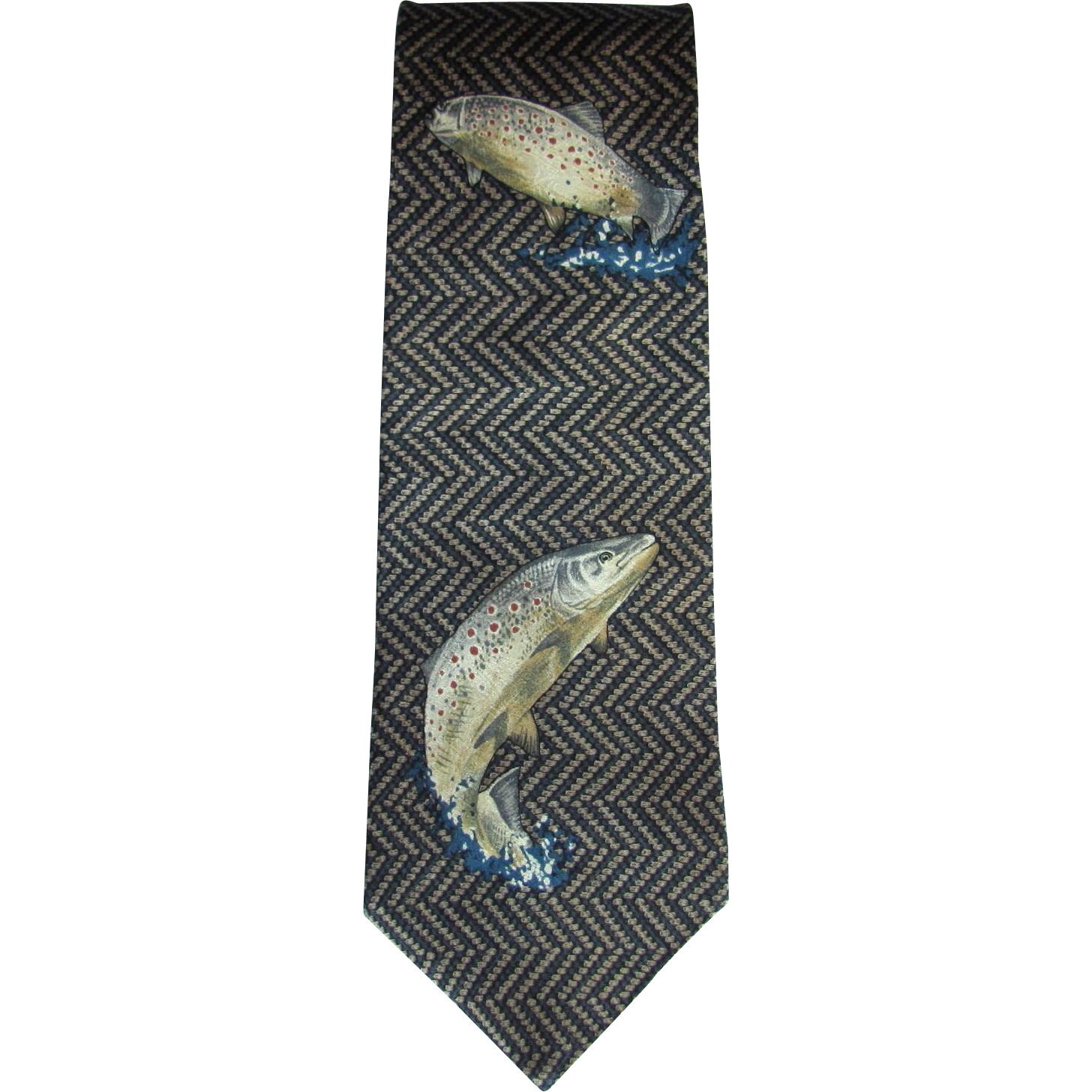 Vintage Silk Necktie with Brown Trout Design by Field Wear Made in USA