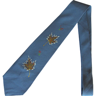 Vintage Late 1940's Tie in Blue-Grey with Hand Painted Autumn Leaves