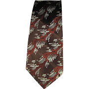 Vintage 1950's Jacquard Tie in Shades of brown with Brush Stroke Design