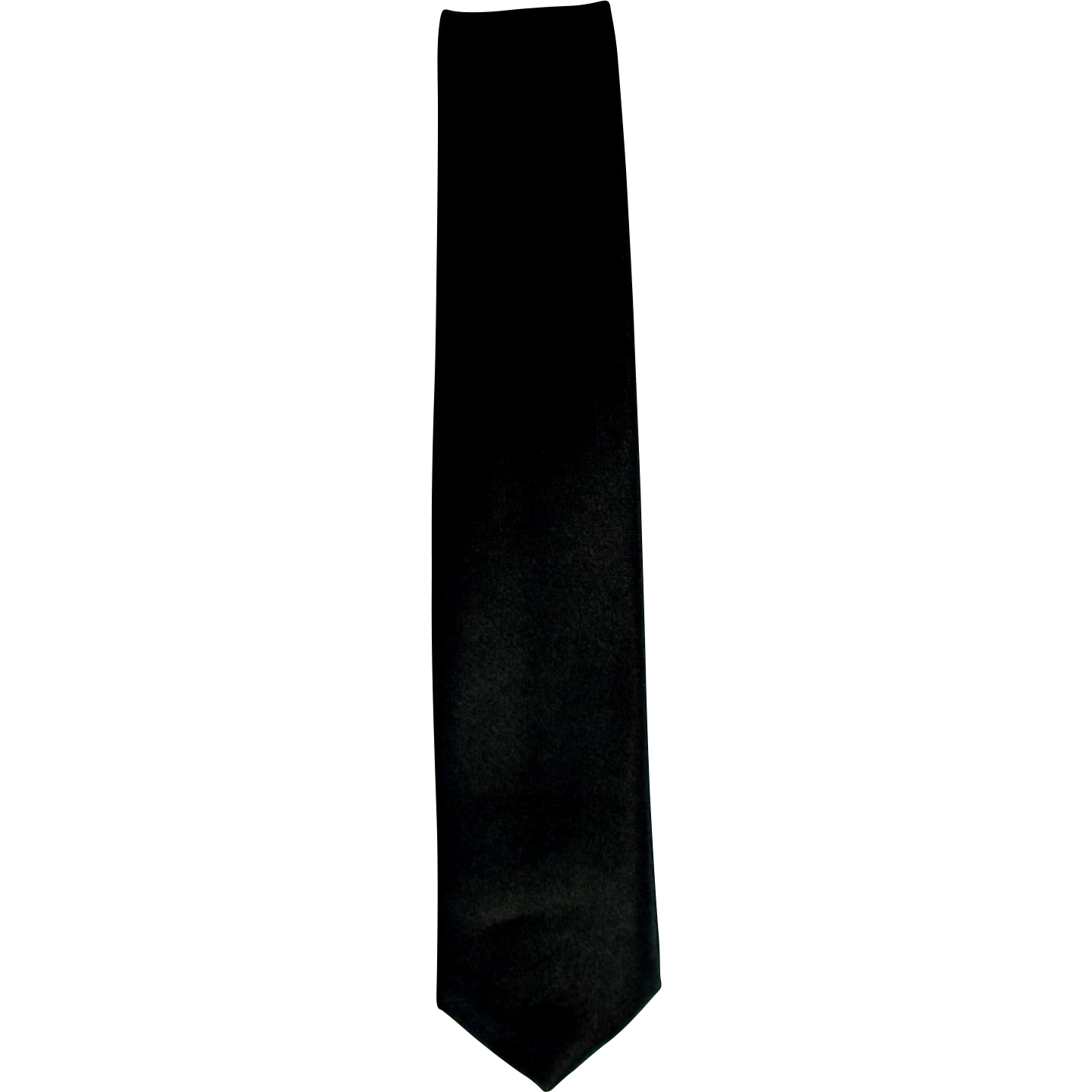 Vintage 1970's Super Skinny Tie in Black Satin