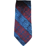 Vintage 1950's Wide Necktie in Red and Blue with Design of Elephants and Birds
