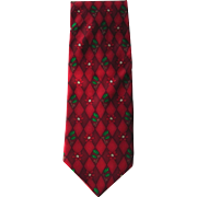 Vintage Christmas Silk Necktie with Holly and Poinsettia Design in Red with Green Accents