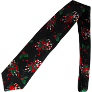 Vintage Christmas Silk Jacquard Necktie with Candy Cane and Holly Design