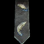 Vintage Silk Necktie with Brown Trout Design by Field Wear Made in USA