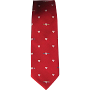 Vintage 1960's Jacquard Tie in Red with Heart and Arrow Design by Briar