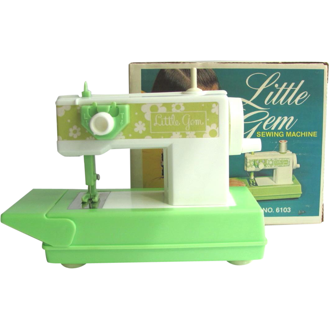 Vintage 1960's Little Gem Toy Sewing Machine with Instructions – Extra Needle – Thread – NIB