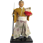 Vintage Japanese Ningyo Samurai Doll with Spear and Loving Cup on Lacquered Stand