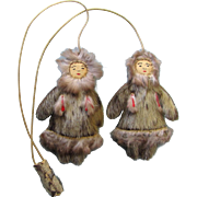 Two Mid-Century Inupiat Dolls in Fur Parkas - Handcrafted on Traditional Yo-Yo