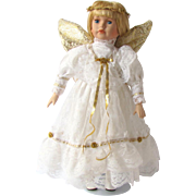 Vintage Angel Doll in Long White Dress with Gold-Colored Accents