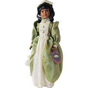 Vintage African American Porcelain Doll in Green Gown – Heritage Mint Southern Belle Collection - NIB