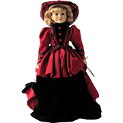 Vintage Southern Belle Porcelain Doll in Red and Black Gown – 18 inches – NIB