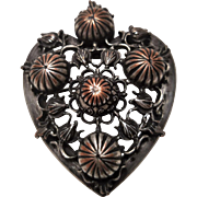Victorian Era Embossed Heart Pin
