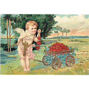 Vintage Valentine Postcard Cupid and Heart's Wagon