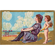 Vintage Postcard Oh Be My Valentine Lady at the Beach and Cupid