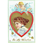 Vintage Postcard Beautiful Victorian Style Lady with Cupid Be My Valentine with Hearts